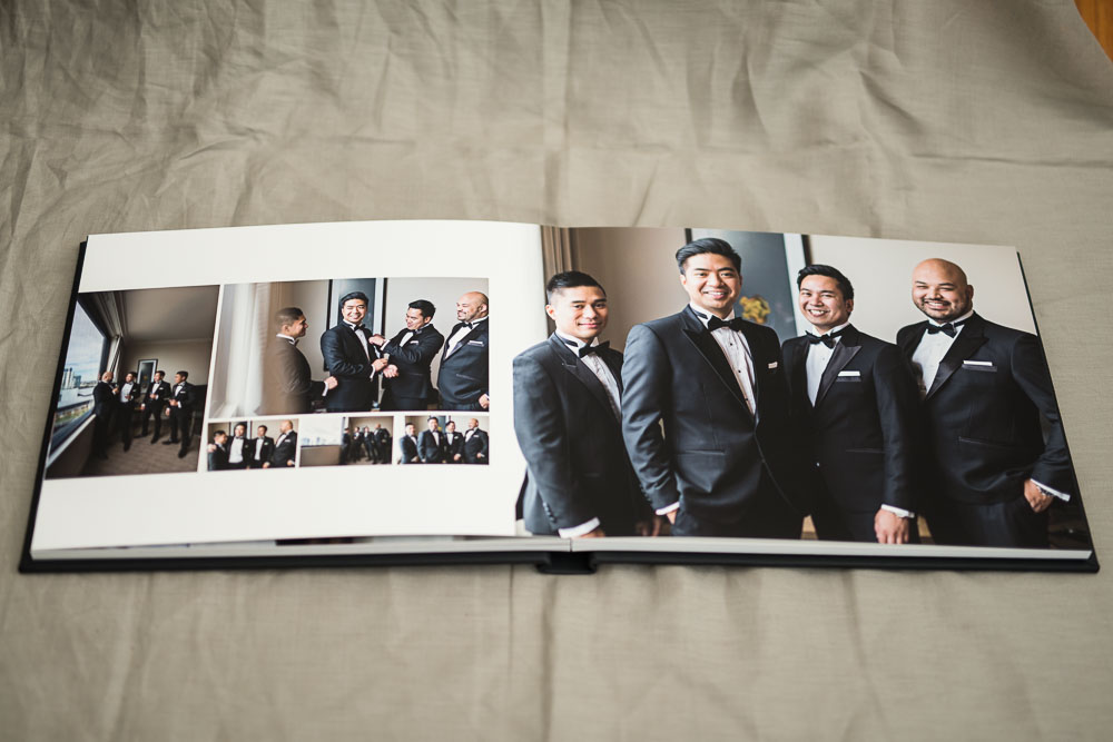 Classic Black Leather Wedding Album with fine art matte pages | 14x11 Horizontal (landscape) Album | Designed by The Coffee Table Book - an Australian wedding album designer bridging the gap between brides, grooms, newlyweds and professional album manufacturers.