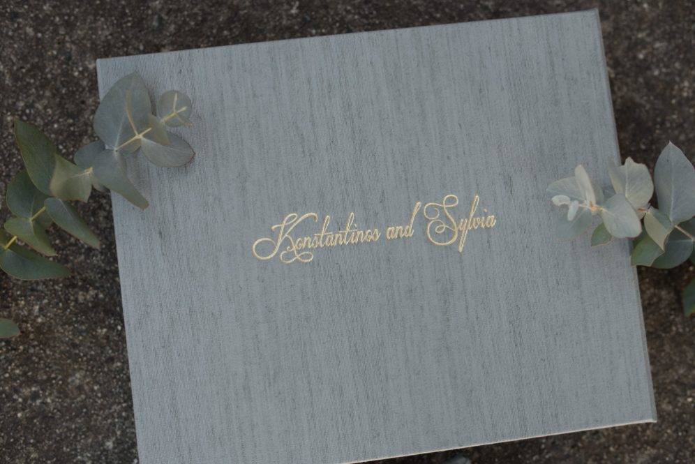 Fabric Wedding Album with Embossing - Album Cover Embossing