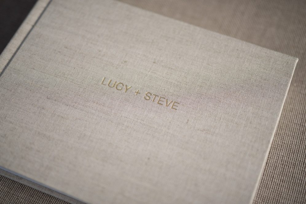 Linen Wedding Album with Embossing - Album Cover Embossing