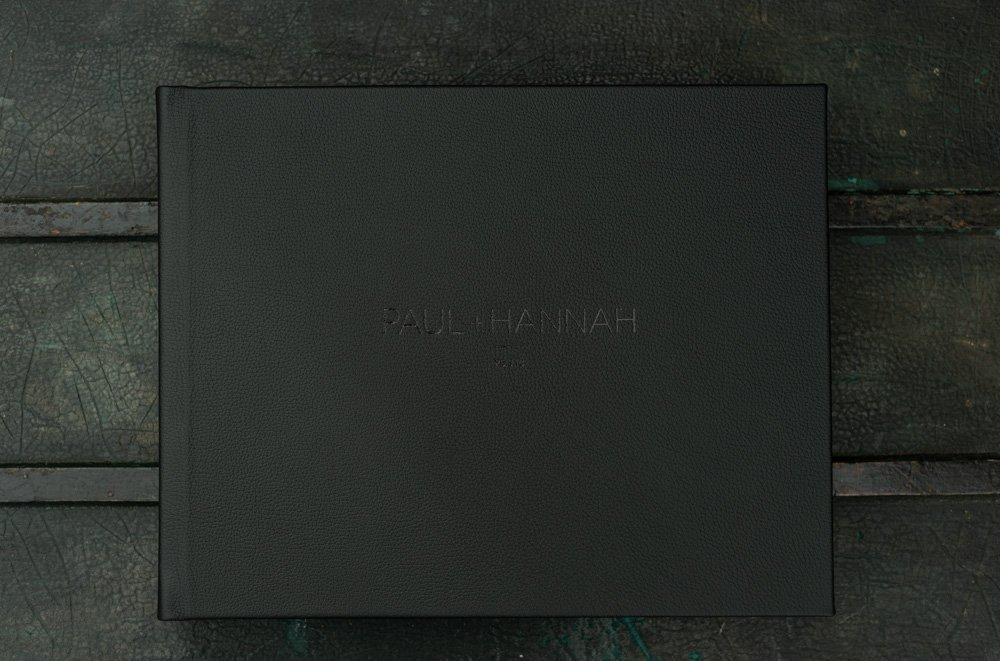 Black Leather Cover Wedding Album With Personalised Embossing