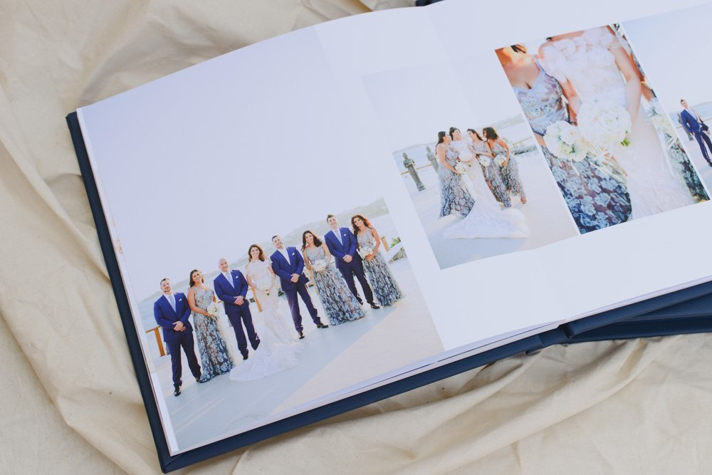 Navy Leather Wedding Album with Gold Embossing - Designer Wedding Albums by The Coffee Table Book