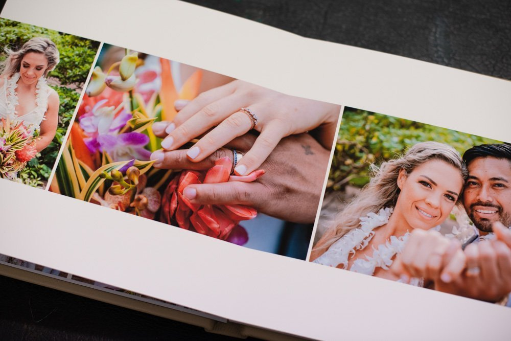 Square Leather Wedding Album in Nougat with Personalised Embossing - Professional Wedding Album Designer - The Coffee Table Book Fine Art Wedding Albums