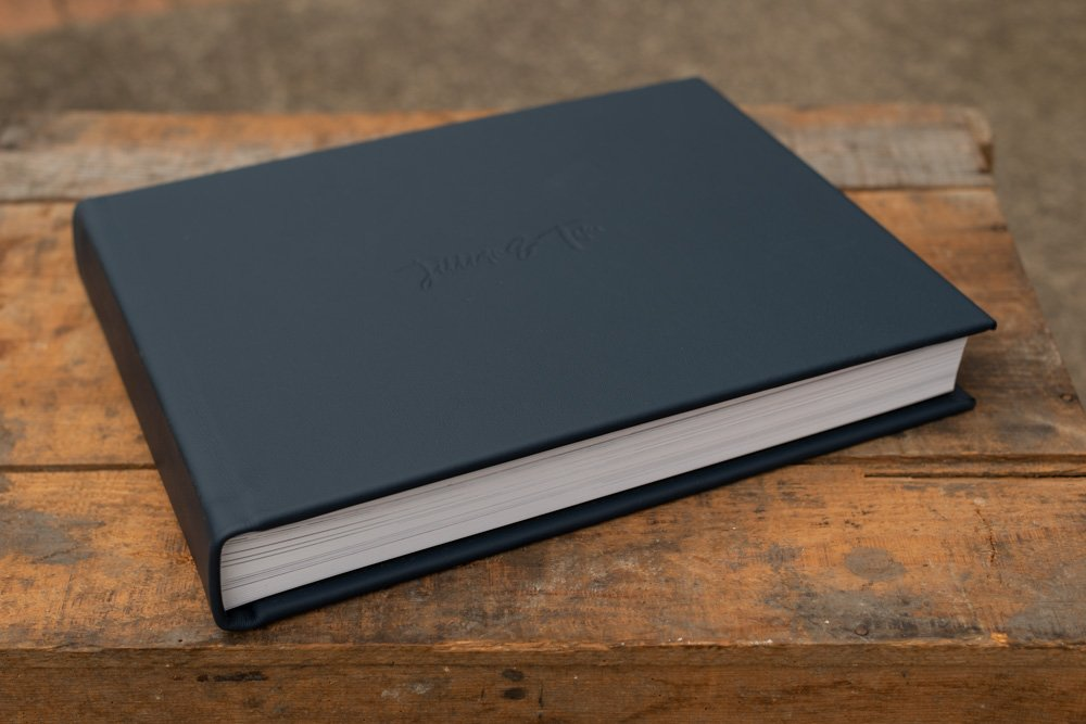 Leather Wedding Photo Album in Navy Blue with Custom Name Embossing - Photo of Album