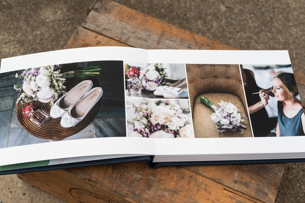 Leather Wedding Photo Album in Navy Blue with Custom Name Embossing - Spread from Bride Preparation & Wedding Details