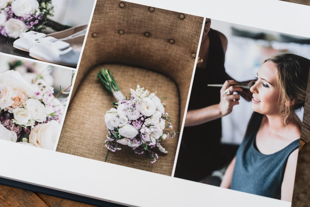 Leather Wedding Photo Album in Navy Blue with Custom Name Embossing - Spread from Bride Preparation including Bride Details