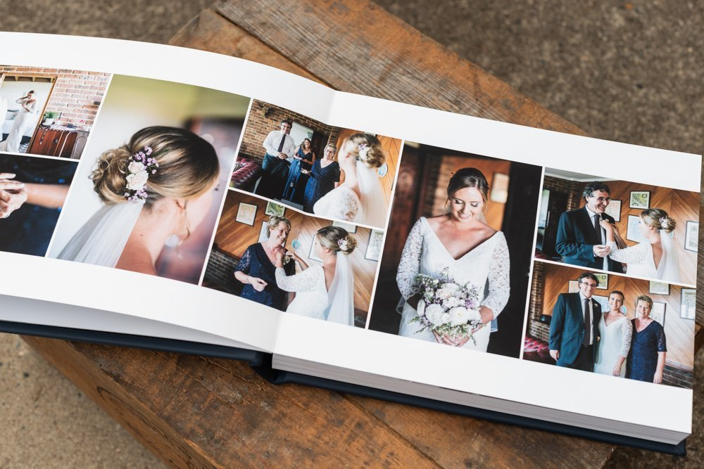 Leather Wedding Photo Album in Navy Blue with Custom Name Embossing - Spread from Bride Preparation