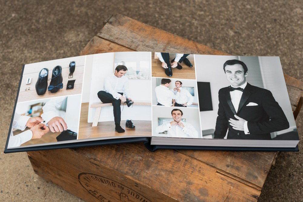 Leather Wedding Photo Album in Navy Blue with Custom Name Embossing - Spread from Groom Preparation