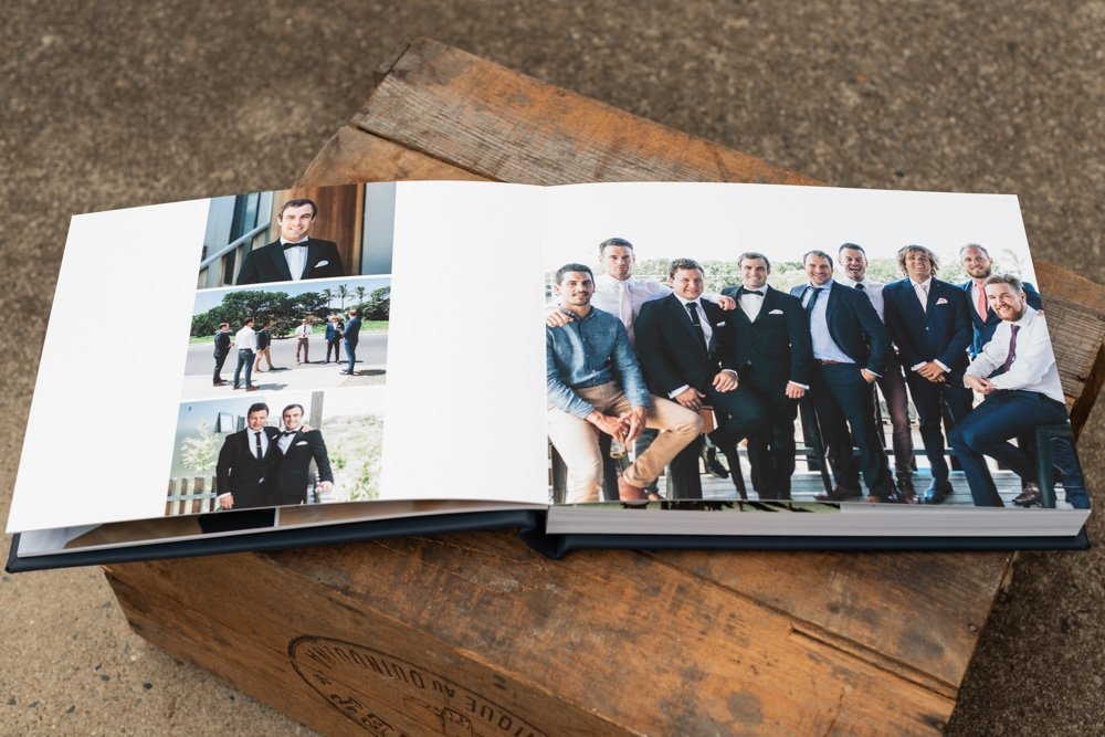 Leather Wedding Photo Album in Navy Blue with Custom Name Embossing - Spread from Groom Portraits