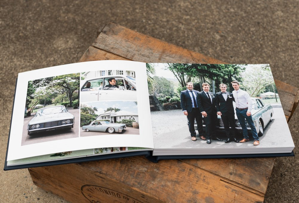 Leather Wedding Photo Album in Navy Blue with Custom Name Embossing - Spread of Groom arriving at ceremony
