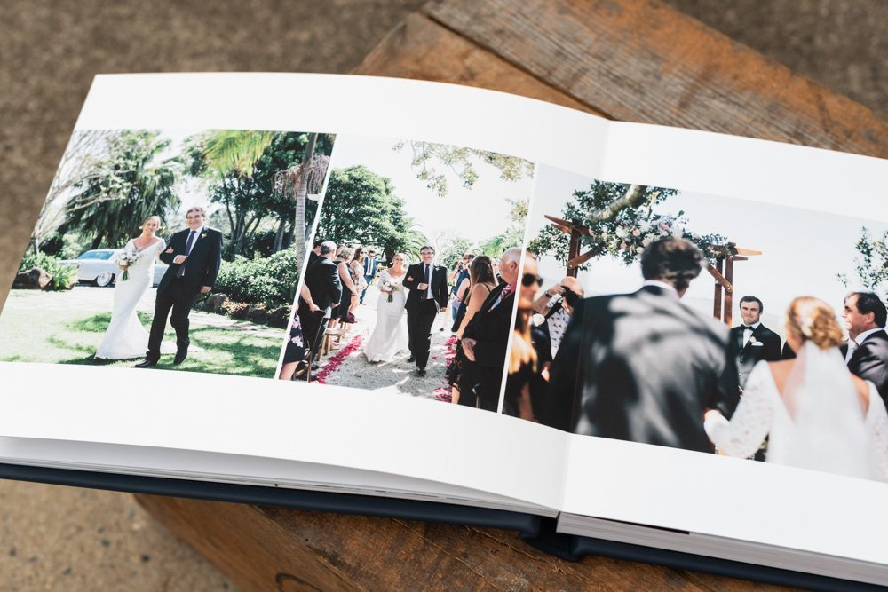 Leather Wedding Photo Album in Navy Blue with Custom Name Embossing - Spread of Bride's arrival at ceremony