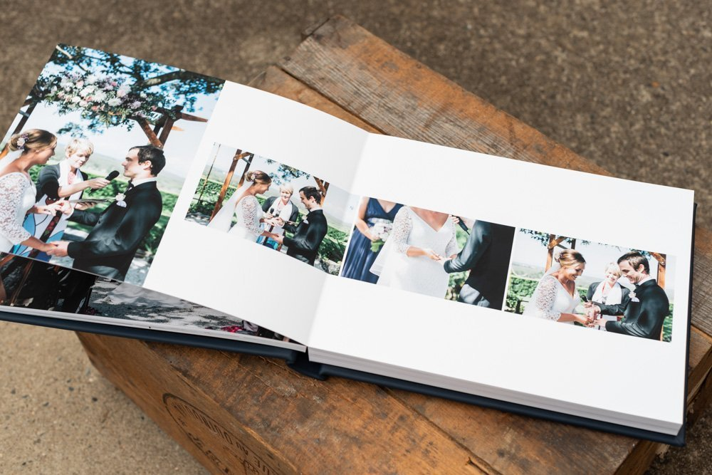 Leather Wedding Photo Album in Navy Blue with Custom Name Embossing - Spread from Ceremony