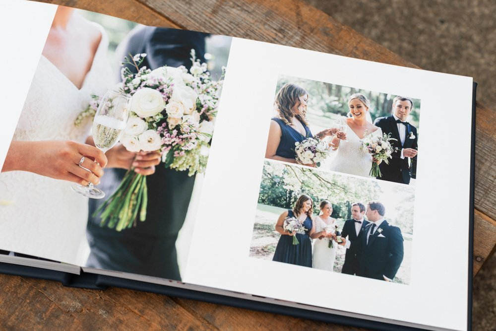 Leather Wedding Photo Album in Navy Blue with Custom Name Embossing - Spread from Bride & Groom Photo Shoot