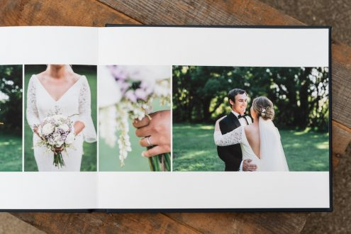 Leather Wedding Photo Album Navy Blue Custom Name Embossing - Spread from Bride & Groom