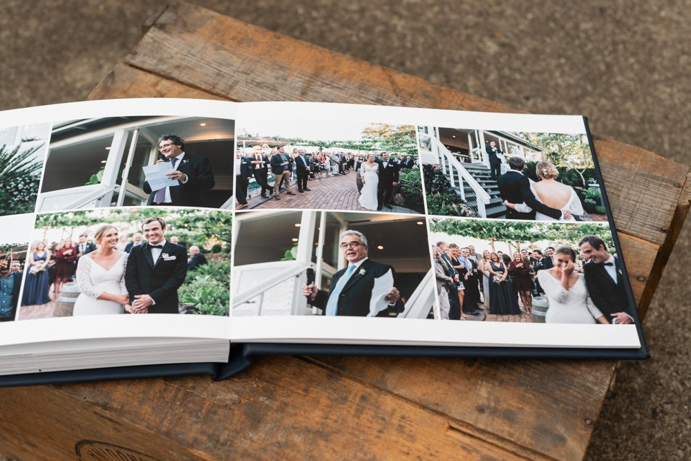 Leather Wedding Photo Album in Navy Blue with Custom Name Embossing - Spread from Reception Speeches