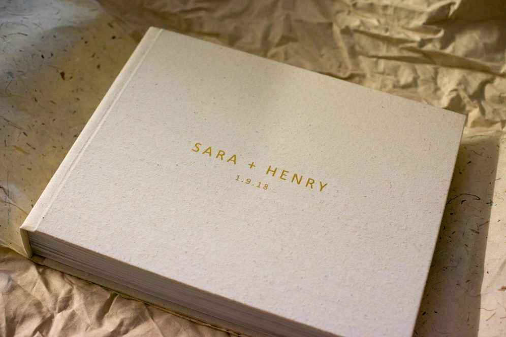 Linen Wedding Album with Gold Foil Embossing - Album Cover
