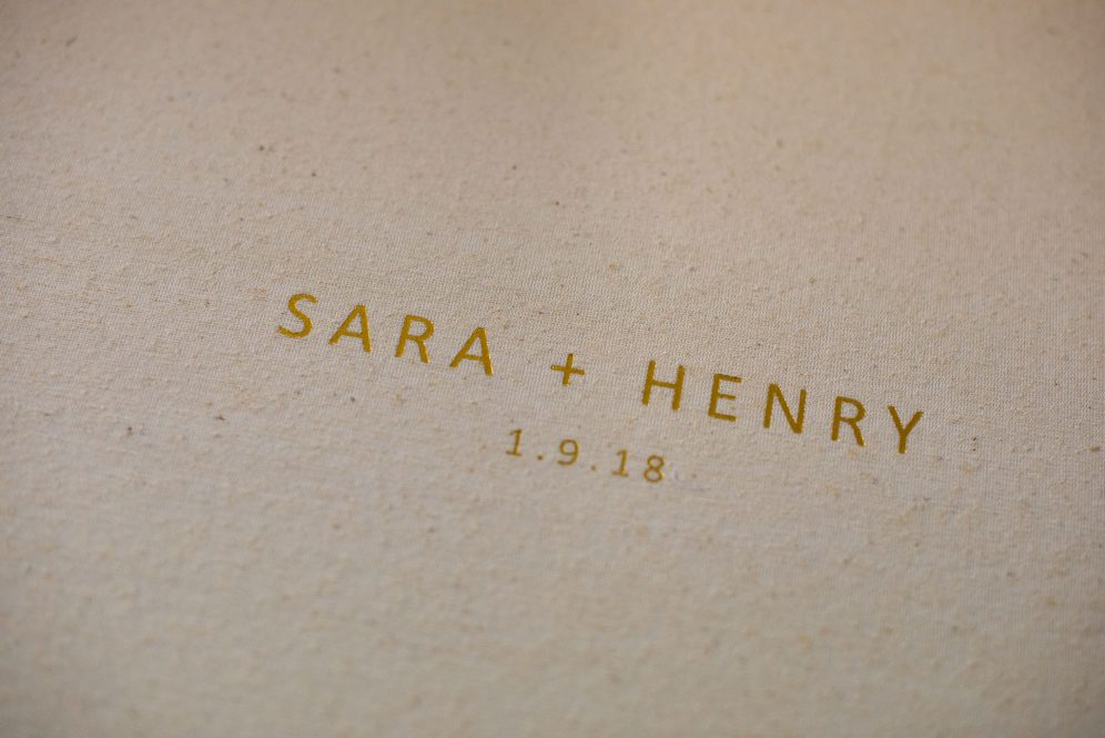 Linen Wedding Album with Gold Foil Embossing - Album Cover Embossing