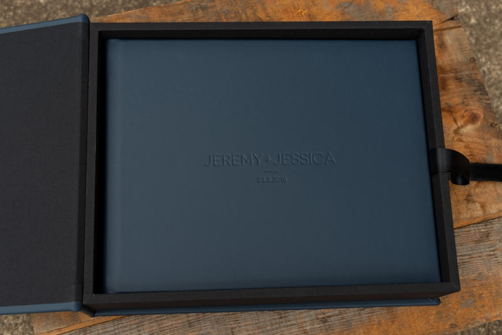 Wedding Album Presentation Box In Navy Leather with Black Linen Linings